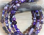 Boho Purple Amethyst Crystal Mixed Media Memory Wire Bracelet Crystals Stones Funky Bracelet Gypsy Jewelry Nature Tribal Bohemian E