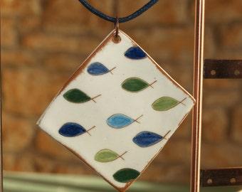ceramic necklace, pendant, fish motif, hand painted, mediterranean