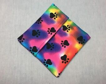 Cloth Pad Wrapper - Mini Wet Bag - PUL Pad Wrapper - Rainbow Pawprint Pad Wrapper