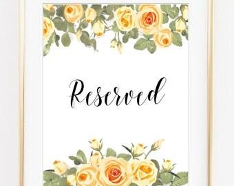 Reserved Wedding Sign, Reserved printable, Cream wedding, Amber wedding, wedding printable, wedding decor, wedding signs, digital file