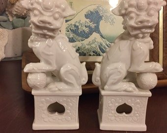 Mystical Ardalt White China Foo Dogs - Made in Japan - Beautiful Shishi Lions!  Lenwile