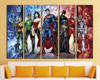 Superhero wall art etsy for Room decor justice