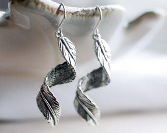 Long dangling leaf twirl earrings | Spiral leaves earrings | Sterling silver foliage earrings | Boho woodland earrings | Hypoallergenic