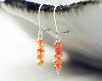 Sterling silver Carnelian earrings | July birthstone earrings | Genuine gemstone earrings | Dainty wrapped earrings |  Orange bead earrings