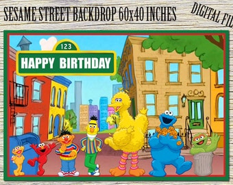 "Sesame Street Backdrop 60""x40"" Inch-Sesame Street Invitation-Sesame Street Birthday Party-Sesame Street Digital Download-Sesame Street Print"