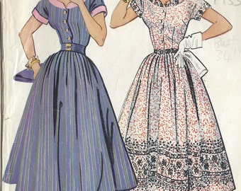 "1953 Vintage Sewing Pattern DRESS B34"" (R12)"