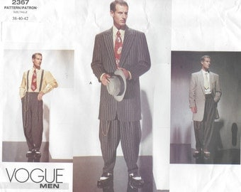 1940s Vintage Vogue Sewing Pattern Chest 38-40-42 MEN'S ZOOT SUIT (R827)   By Vogue 2367