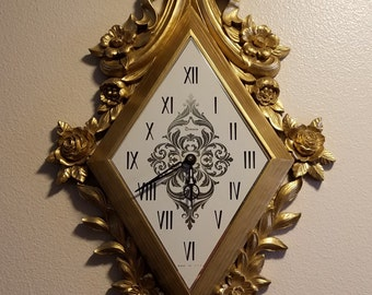 "Vintage Large Syroco Gold Hanging Wall Clock With Bow Ribbon Roses Flowers 31"" L Battery Operated"