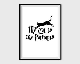 My Cat is My Patronus print Harry Potter Gift Harry potter cat lady patronus poster Cat art print Harry potter wall decor digital printable