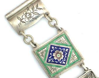 Antique Enamelled Sterling Silver Filigree Link Bracelet