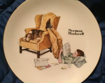 Norman Rockwell - collector plates - Norman Rockwell plates - Norman Rockwell the student - Norman Rockwell baby's first step - vintage