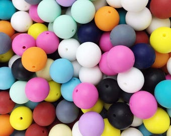 100 Pcs Multicolor Silicone Teething Beads 12- 20mm