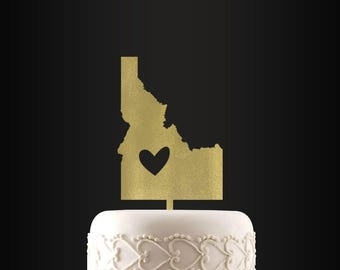Wedding Cake Topper, Idaho, Heart, Personalized, Cake Topper, Wedding Decor, Cake Decor, Boise, Nampa