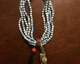 Natural stone prayer beads with trinkets