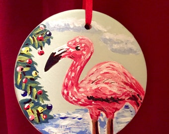 Personalized Artisan Hand Painted Ceramic Christmas Ornament, Pink Flamingo