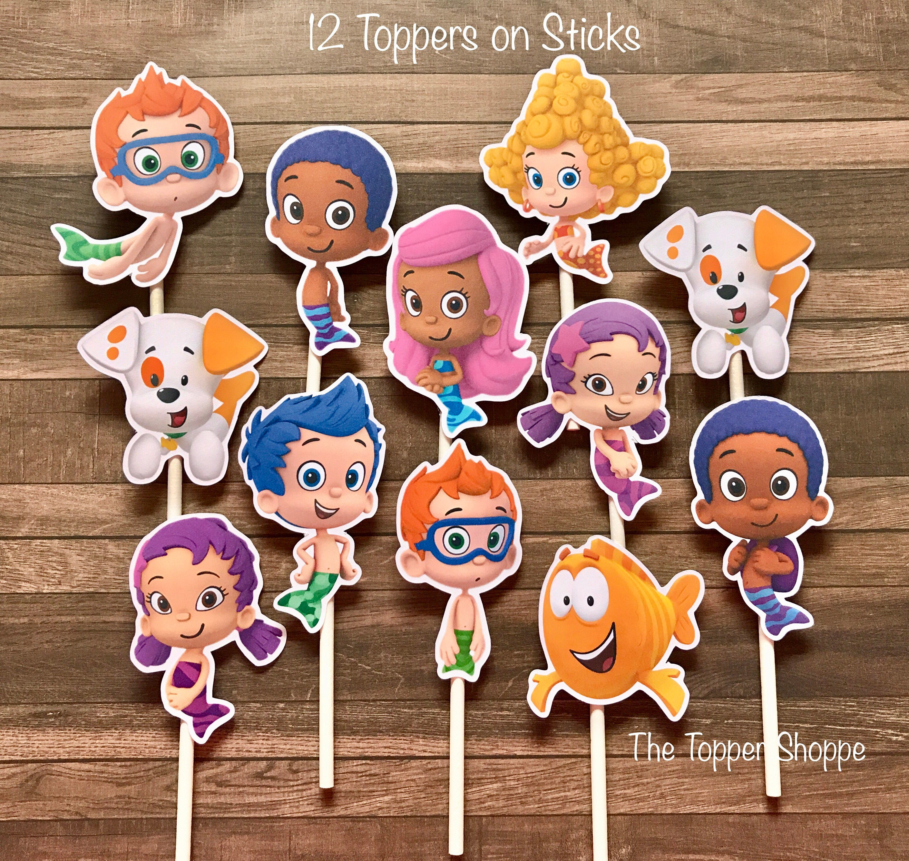 bubble guppies cake toppers guppies cupcake toppers cake toppers die cuts 2100