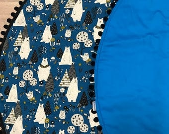 Baby Play Mat Blue Bears Tummy Time