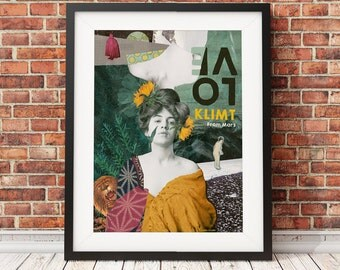 Love Klimt from March, colorful Drea collage poster