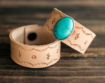 Boho Leather Bracelet, Leather Bracelet, Leather Turquoise Cuff, Southwest Leather Cuff, Native American Leather Cuff