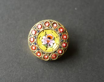 Micromosaic vintage brooch pink flower in yellow and red