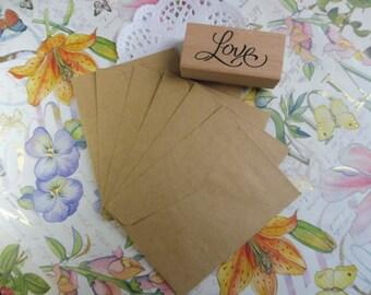 Kraft envelopes 10 piece set with internal ticket imitation parchment
