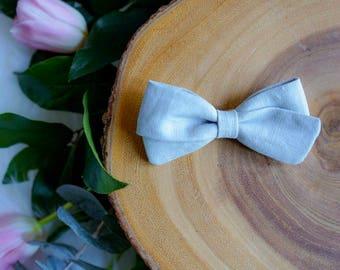 Grace bow in powder blue linen