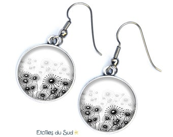dandelions, dandelions, white, black, grey, surgical steel hooks, ref.105 earrings