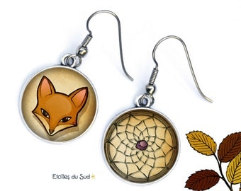 Earrings foxes, dream dreams, associated earrings dissociated, surgical steel, ref.280