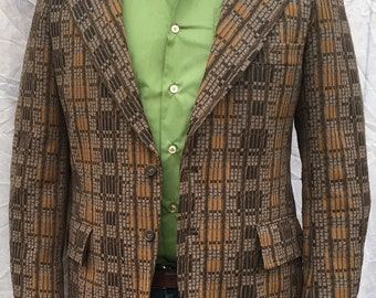 Brown Textured Sports Coat by Oakmont  42 Long