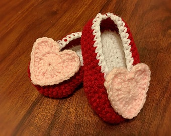 Valentines Booties, Heart Shoes, Red Baby Booties