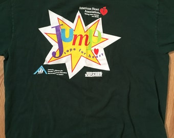 Vintage 90s Jump Rope For Heart t shirt by Jerzees XL