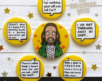 Hamilton inspired Quote Refrigerator Magnets, Fridge Magnets, Set 58mm and 45mm
