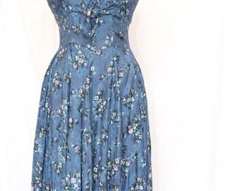 Vintage 50's blue floral print dress - handmade