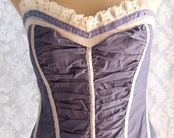 Upcycled , refashioned ,corset top, dyed,  light denim blue colour, larger size,BBW, costume, cosplay,steampunk,evening,bridesmaid