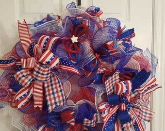 SALE! 4th July deco mesh wreath in all the glory of the Red White & Blue