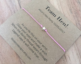 Hen Party Favours, Hen Party Bags, Hen Do Favours, Team Hen, Bride Tribe, Hen Night, Adult Party Favours, Wish Band Favor, Wish Bracelets