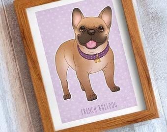 Wall Art, Cute French Bulldog, Print Illustration