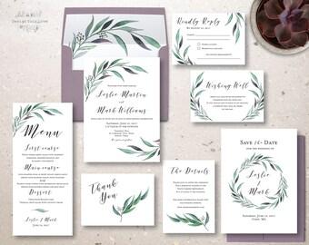 wedding invitation set printable wedding invite eucalyptus leaves greenery invitation leafy watercolor garden wedding invitation suite DIY