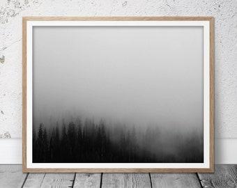 Fog forest print, Forest landscape, Misty forest, Scandinavian art, Scandinavian decor, Nordic prints, Tree printable, Tree art, Scandi art