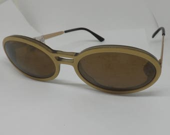 IDC LUNETTES sunglasses vintage retro sunglasses made in francemontatura gold Brown lenses