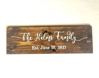 Family Name Sign, Family Established Sign, Wedding Established Sign, Wedding Last Name Sign, Family Established Wood Sign, EST Sign