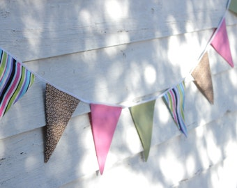 """SALE - 8'6"""" (2.6m) Fabric Bunting, Multicolor Bunting, Flag Banner, Wall Decor, Party Decor, Kids Decor, Cake Smash, Baby Shower Decoration"""