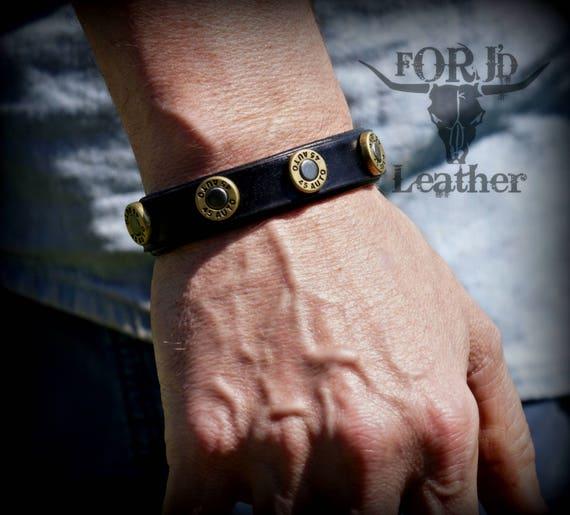 Leather Bullet Bracelet, .45 bullet bracelet, Men's Leather Bracelet, Women's Leather Bracelet