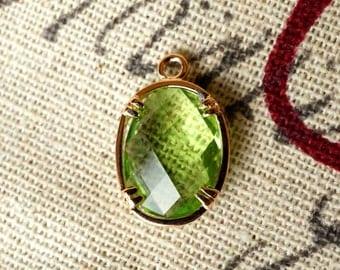 Oval jewel charms emerald green glass gem jewellery supplies C57