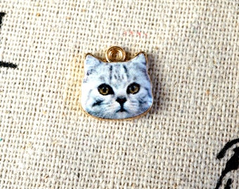 Cat face 3 charms gold jewellery supplies C174