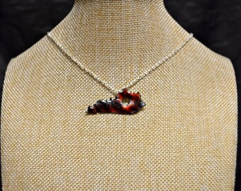 Red & Black Multicolor Handmade Kentucky Stone Necklace!