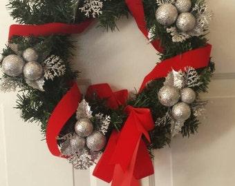 Christmas wreath / holiday wreath / front door wreath / door wreath / silver wreath / red ribbon