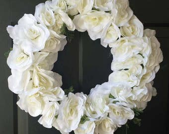 Summer wreath / spring wreath / front door wreath / door wreath / holiday wreath / rose wreath / white rose wreath/ Easter wreath