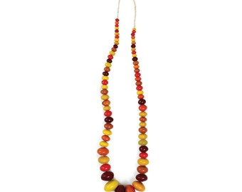 Huge Vintage dark honey AMBER Copal traditional multi Color light to butterscotch AFRICAN beads NECKLACE 45IN