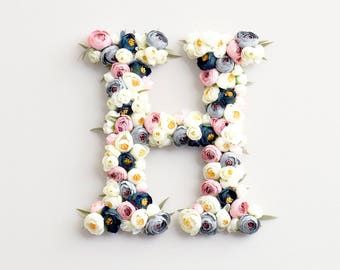 Flower letter nursery decor wall art. 16'' 12'' personalized nursery. Perfect baby shower gift, birthday gift, wedding decor, initial sign